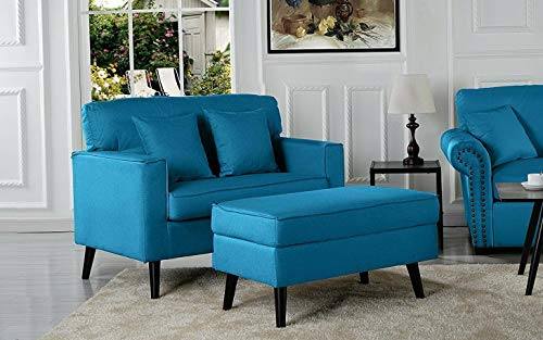 Monowi Modern Living Room Large Accent Chair w/Storage Ottoman, Sky Blue | Model CCNTCHR - 82