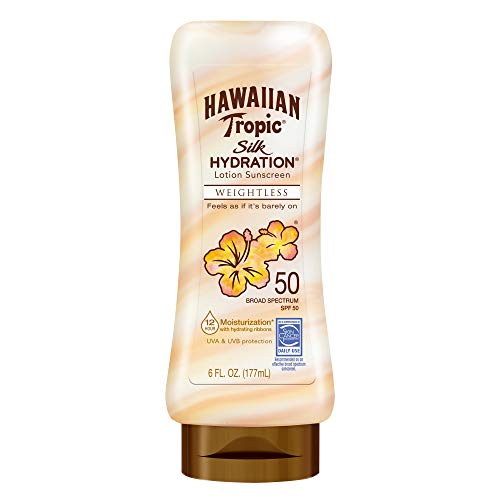 Hawaiian Tropic Silk Hydration Weightless Sunscreen Lotion, Broad-Spectrum Protection, SPF 50, 6 Ounces – Pack of 3