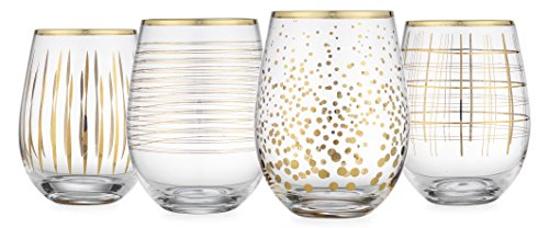 Gold Rimmed Wine Glasses (Elegant Home Set of Four (4) 18K gold Stemless Wine)