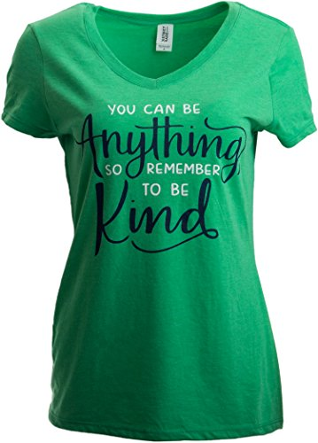 You can be Anything, so Be Kind | Nice Positive Teacher V-Neck T-Shirt for Women-(Vneck,S)
