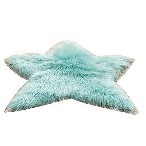 wewa98698 Star Shape Plush Area Rug Living Room Couch Sofa Armchair Cushion Carpet Decor Light Blue