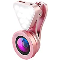 AMIR 2 in 1 Cell Phone Lens with Beauty LED Flash Light, 15X Macro Lens & 0.4X - 0.6X Wide Angle Lens, 3 Adjustable Brightness Fill Light, for iPhone 7, 6s, 6, 5s & Most Smartphones (Pink)