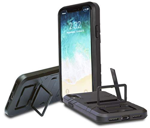 Slim Armor iPhone X XS Phone Case w/ Built in Finger Lock for taking Selfies - Kickstand - Dual Drop Protection Technology - Selfie Saver - Black/Black - LIFETIME Finger Lock Warranty - USA Company