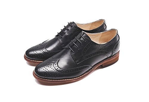 TDA Perforated Wingtip Style1 Dress Black Lace Flat Women's up Vintage Oxford Leather Shoes r5qErx