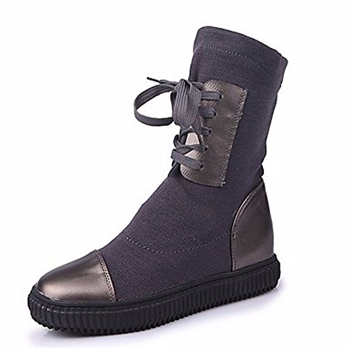 ZHUDJ Women'S Shoes Fall Snow Boots Boots Round Toe Mid-Calf Boots Split Joint For Casual Gray Black Gray hNd1eai4