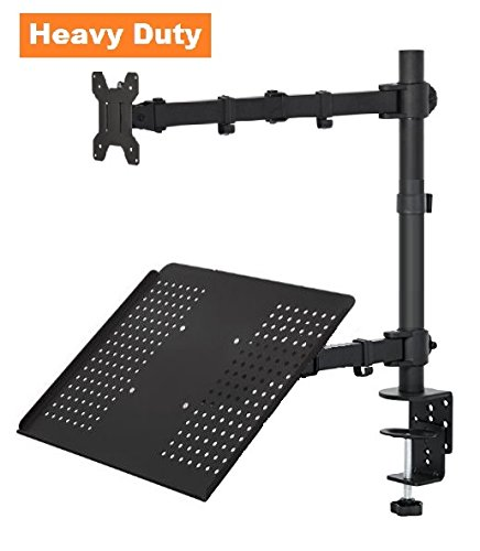 EZM Laptop / Notebook Monitor Extension Adjustable Arm Mount Stand Desktop Clamp with Grommet Mount Option (002-0013) (Lcd Sliding Stand Brackets)