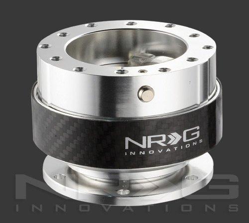 NRG Innovations Quick Release Kit Silver Black Carbon Fiber Srk-100cf