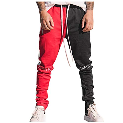 New Men's Casual Pants Patchwork Loose Jogger Sweatpant Athlete Fitness with Pockets Red