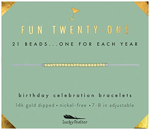 Lucky Feather 21st Birthday Gifts for Her - 14K Gold Dipped Beads Bracelet on Adjustable 7