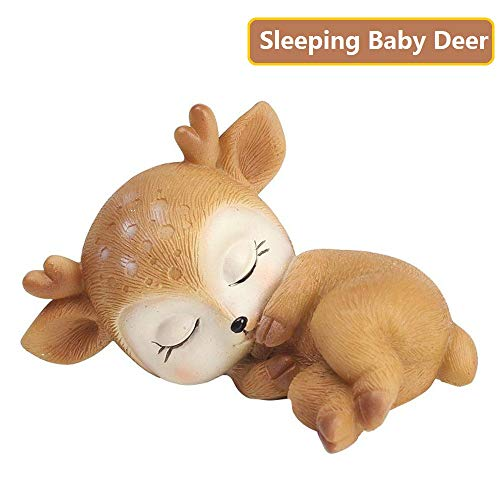 Deer Figurine Cake Topper, Mini 3D Resin Deer Statue Desktop Decoration Figurine Crafts 2.8 inch for Girl or Boy First Birthday Baby Shower (Sleeping Baby Deer)