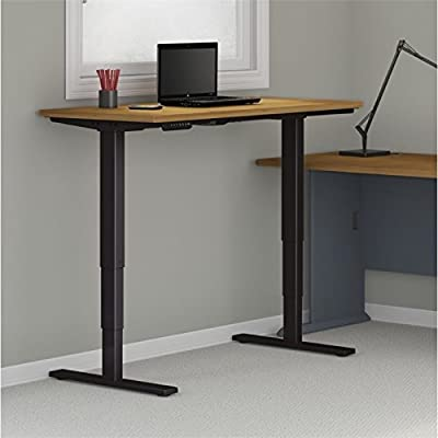 "Bush Business 60"" Height Adjustable Standing Desk in Natural Cherry"