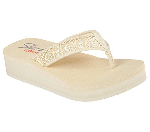 Skechers Vinyasa Lavender Womens Wedge Flip Flops Natural 9