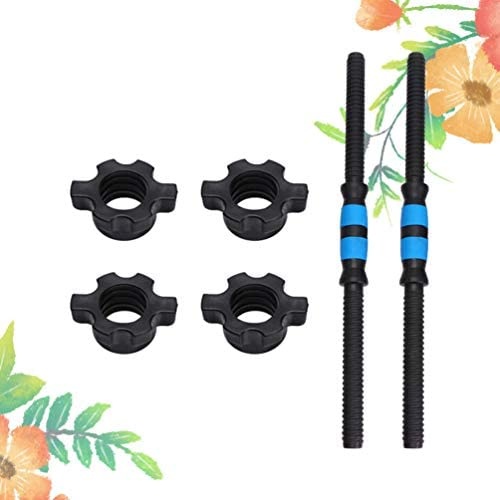 BESPORTBLE 50cm 2pcs Dumbbell Bar Steel Dumbbell Handle with 4pcs Nuts Weightlifting Accessories Household Fitness Equipment (Blue)