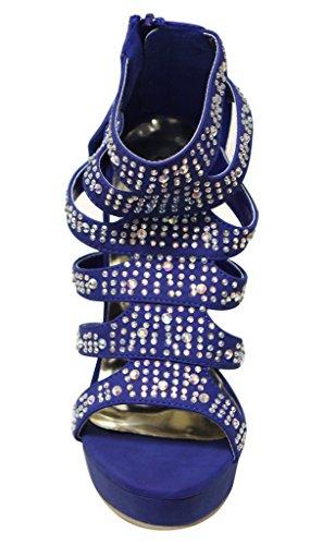 Eye Candie Ruby-303 Donna Open Toe Platform In Rilievo Strappy Tacco Alto Cerniera In Pelle Scamosciata Stiletto Tacco Alto Sandali Blu