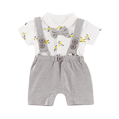 2Pcs/Set Infant Baby Boys Gentleman Outfits Short Sleeve Bow T-Shirt+ Stripe Bib Pants Outfits (Gray, 0-6 ()