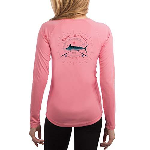 SAND.SALT.SURF.SUN. Sailing Marlin Rods Florida Women's UPF 50+ Long Sleeve T-Shirt Medium Pretty Pink
