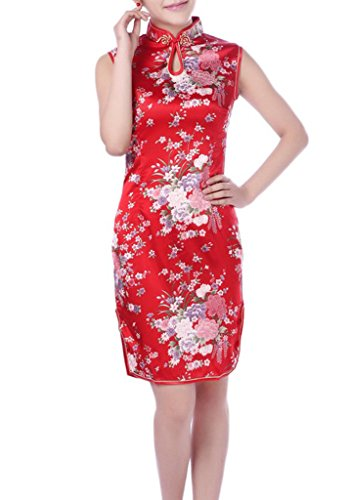 Qipao Women Cheongsam Dress YICHUN Short Dress Sleeveless Party Floral Red XnUOnq