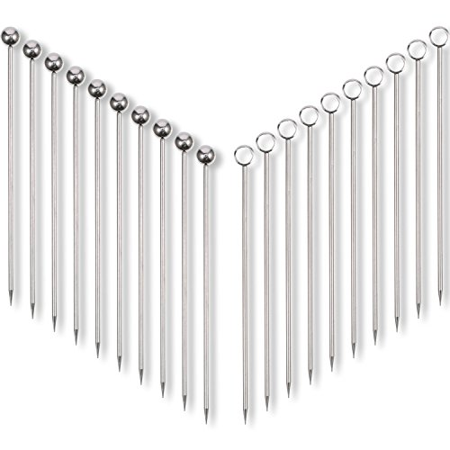 Frienda 20 Pieces Stainless Steel Cocktail Picks Fruit Sticks 4.3 Inch, 2 ()