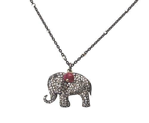 Ruby Elephant - Genuine Pave Diamond Elephant Ruby Pendant Necklace Oxidized Sterling Silver- 17