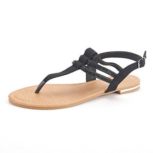 DREAM PAIRS ESTELLE Women's Casual Strappy RhinestonesThong Buckle Strap Gladiator Flat Sandals