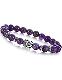 Joya Gift Gemstone 8MM Round Beads Buddha Bead Gemstone Chakra Bracelet for Women Charms Men Jewelry