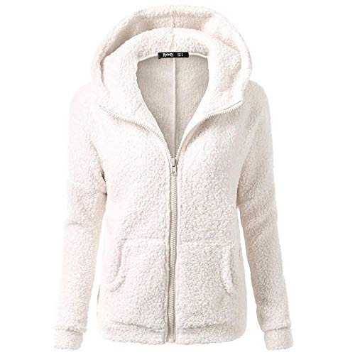 HGWXX7 Women's Hoodie Solid Winter Warm Plus Size Cotton Zipper Coat Tops Blouse Sweatshirt Outwear(3XL,White) (Crewneck Warm Up Jacket)