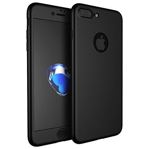 timeless design 9bc97 da906 Ron 360 Degree Full Body Front and Back Case Cover with Tempered Glass for  iPhone 7 Plus (Black)