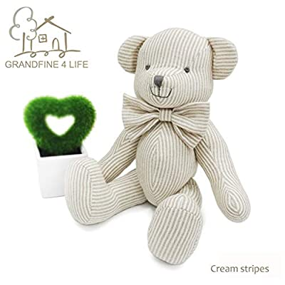 GRANDFINE 4 LIFE Luxury Handmade 15cm Striped Soft Teddy Bear Toy for Birthday Gift: Toys & Games