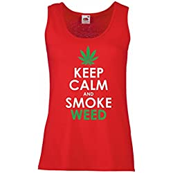 lepni.me Womens tank tops Keep Calm and Smoke - Marijuana Leaf Weed Smoker (Small Red White)