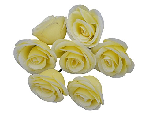 50pcs Artificial Silk 3.1'' Rose Head Colorfulife® Simulation Flower Beautiful Wedding Home Party Decoration Bridal Hair Decorative,9 Colors (Yellow) by Colorfulife