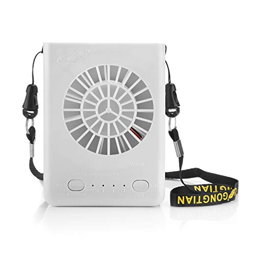 Powshop Portable Necklace Multi-functional Rechargeable Mini Fan 3 Speeds Personal Cooling Fan with 18650 Li-ion Battery & USB Charging & String for Outdoors/Travel/Office (White)