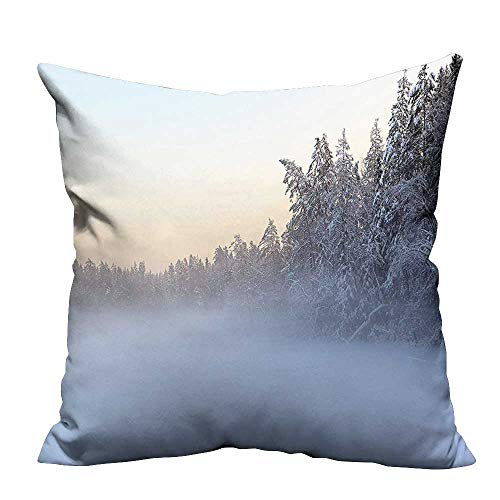 YouXianHome Decorative Throw Pillow Case The Frozen Winter Lake River in Woods Trees Under The Snow Nature Ideal Decoration(Double-Sided Printing) 26x26 inch -