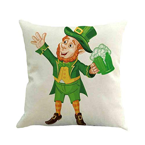 (Sunshinehomely St Patrick Day Throw Pillow Cover, Beautiful Nature Spring Clover Leaf Floral Green Decorative Couch Sofa Bedroom Pillow Cases 18x18Inch (D))