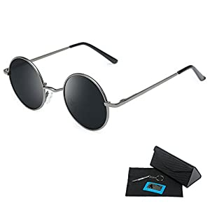 Shushu Jacob Unisex Polarized Sunglasses UV400 Protection 60s Style Round Metal - Gray Lenses Gun Frame