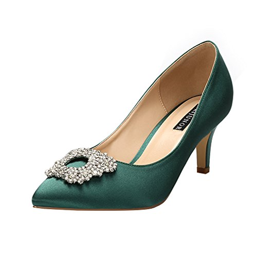 ERIJUNOR E1604 Women Pumps Low Heel Rhinestone Brooch Satin Evening Dress Wedding Shoes Dark Green Size 9