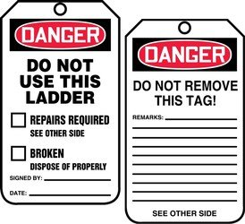 Pf Tags Cardstock - Accuform TRS331CTP Safety Tags Status Alert DO NOT USE THIS LADDER Standard Back A PF-Cardstock 25 PK