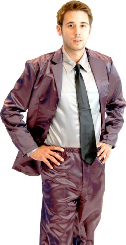 How I Met Your Mother Purple Silk Pajama Suit with Gray Shirt (Iron Purple) (Mens Medium)