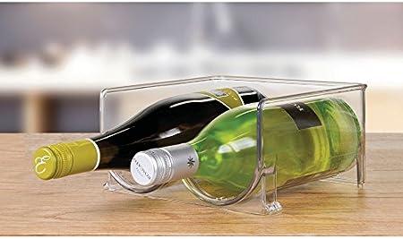 mDesign Botellero para nevera o vinoteca – Botellero apilable para 2 botellas – Soporte para botellas de vino, agua y refrescos, ideal para frigorífico o despensa – Plástico transparente