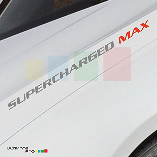 2x Max SILVER SUPERCHARGED Decal sticker Compatible with Chevrolet, Dodge,mitsubishi,BMW,Range Rover, Jaguar and more... by Bubbles Designs