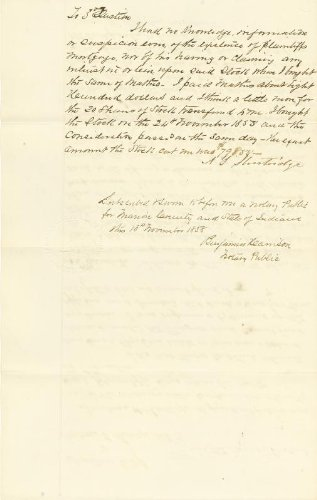 President Benjamin Harrison - Autograph Document Signed 11/18/1858
