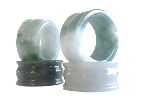 - Karatgem Jewelry Green Jadeite Jade Thumb Ring Wide 13mm US Size 9-10 13JRMC (Ring Size 10)