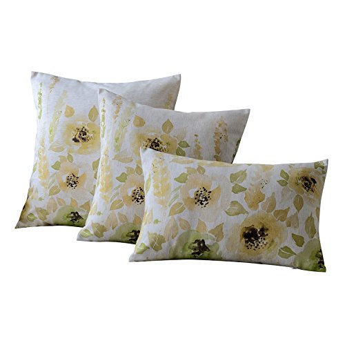Green Floral Print (MYSKY HOME Set of 3 Floral Design Print Cushion Covers Sofa Chair Seat Home Decor Throw Pillow Case, 12 x 20 inch/17 x 17 inch/20 x 20 inch, Green)