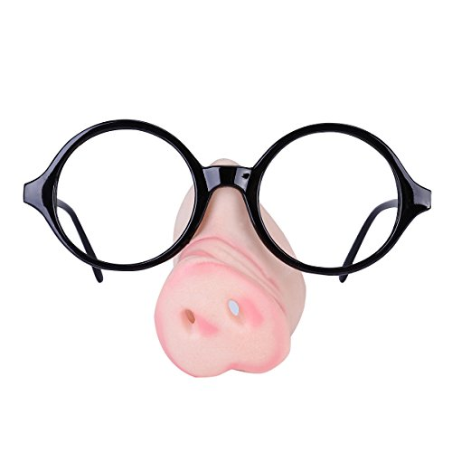 LUOEM Halloween Glasses with Pig Nose Attached Novelty Costume Party Frame Fancy Party - Nose With Glasses Attached