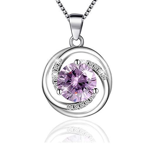 BLOVIN 925 Sterling Silver Purple Round Birthstone Rotate Circle Pendant Necklace, Box Chain 18