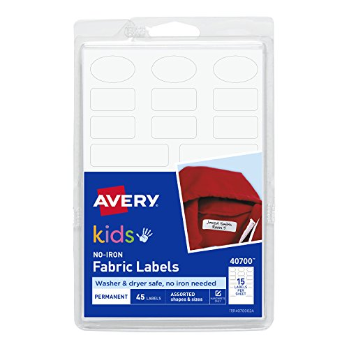 All Purpose Jacket - Avery No-Iron Kids Clothing Labels, Washer & Dryer Safe, Writable Fabric Labels, 45 Assorted Shapes & Sizes (40700)