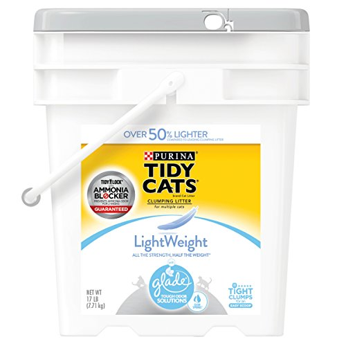 (Purina Tidy Cats Light Weight, Dust Free, Clumping Cat Litter; LightWeight Glade Clear Springs Mulit Cat Litter - 17 lb. Pail)