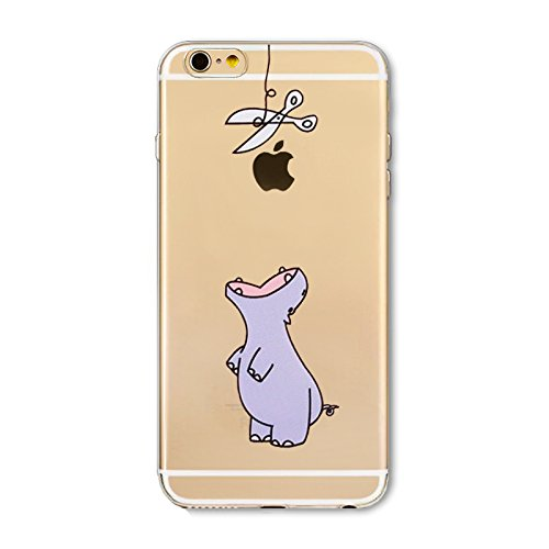 iPhone 8 Case/iPhone 7 Case(4.7inch),Blingy's Creative Animal Design Transparent Clear Soft TPU Protective Case for iPhone 8/iPhone 7 (Purple Hippo) (Hippo Iphone 4 Case)