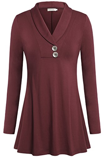 Ouncuty Plus Size Tunics to Wear with Leggings, Petite Fit and Flare Tops Long Sleeve V Neck Tunic Blouses for Women Wine Large