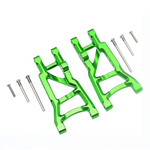 (Volity Livoty 2-Pack Front & Rear Aluminum Suspension Arms Replacement of 3655x for RC Traxxas 1/10 Slash Traxxas 1/10 Slash 2WD RC Car Option Upgrade Part Hop Ups (Green - Rear))