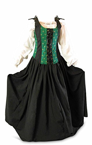 Renaissance Faire Wench Pirate Gown Medieval Dress 3 Piece Set -